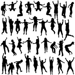 Silhouettes of children and young people jumping