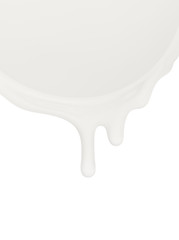 Milk or other dairy products flowing on a white background
