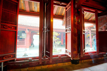 Decorated windows of Temple of Literature in Hanoi, Vietnam