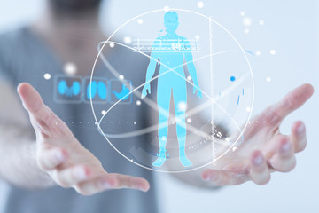 human check - Medicine doctor and stethoscope in hand touching icon medical network connection with...