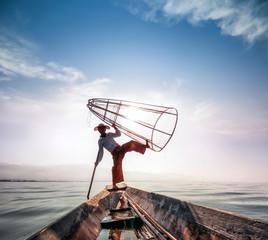 Intha fisherman on boat in Inle Lake in Shan state, Myanmar (Burma)