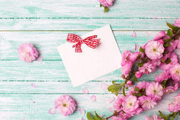 Empty tag for your text and fresh pink flowers