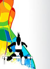 Hurdles running sport background