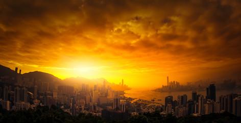 Dramatic sunset sky over Hong Kong panoramic view - fototapety na wymiar
