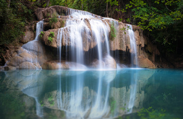 Thailand nature background. Beautiful waterfall in rainforest