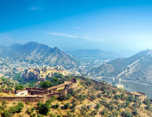 India Jaipur Amber fort in Rajasthan. Ancient indian palace architecture panoramic view