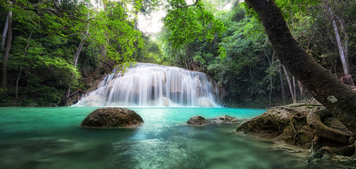 Waterfall landscape background. Thailand green rain forest jungle with trees and bushes