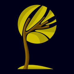 Art fairy illustration of tree, stylized eco symbol. Insight vector