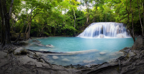 Waterfall and pond with blue water in Thailand panorama photography