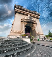 Patuxai Arch monument in Laos Vientiane HDRI photography