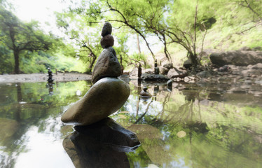 Zen meditation landscape. Calm and spiritual nature environment with stones pyramid