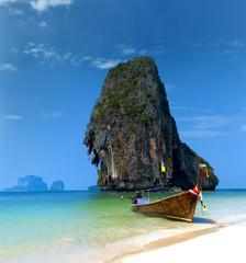 Wall Murals Island Travel boat on Thailand island beach. Tropical coast Asia landscape background