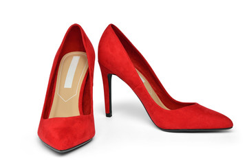 Elegant red suede high-heeled shoes