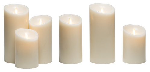 Candle Light, White Wax Candles Lights Isolated