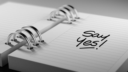 Closeup of a personal agenda setting an important date represent
