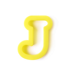 Single J letter form isolated