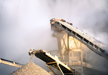 Rock crusher on cement production mining plant