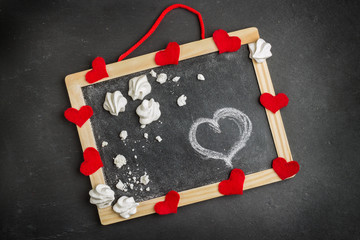 Love and Valentine Day decoration with hearts and frame