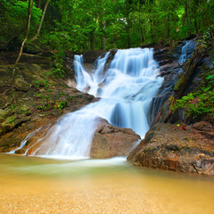 Beautiful landscape in deep forest with mountain creek and waterfall