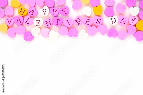 Pastel Colored Candy Hearts With Happy Valentines Day Text Forming A