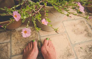 Selfie von nackten Füßen vor blühender Pflanze auf Terracotta Fliesen im Retro Stil