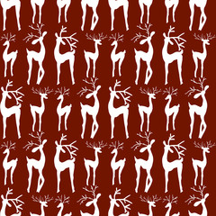 Hand-drawn illustrations. Greeting card with deer. Seamless pattern.