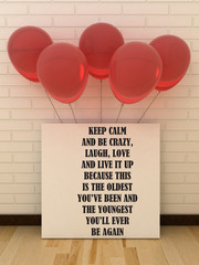 Greeting card poster Happy birthday.  Life, Happiness  concept. Picture frame with balloons. Motivation,  Inspirational quotation.