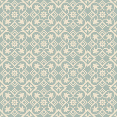 Elegant antique background image of square check cross flower pattern.