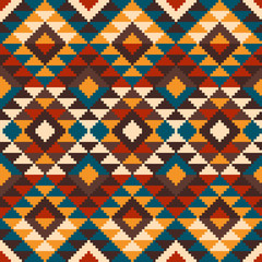 Tribal Aztec Style Seamless Geometric Pattern. Vector Illustrati