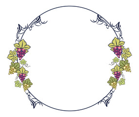 Round frame with grapes