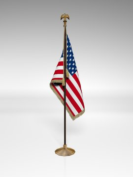 American Flag on stand isolated on white background