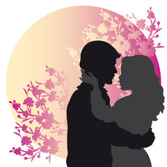 Lovers Silhouettes  on Floral Background