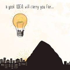 """A good idea will carry you far..."" - tiny people flying away in a bright lightbulb that looks like a hot air balloon"