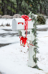 U.S. mailbox for correspondence. White box with a bell and red r