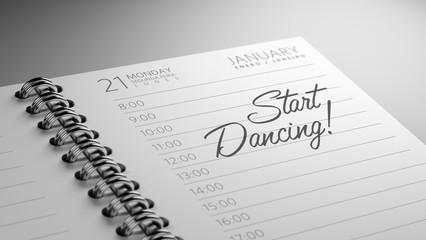 Closeup of a personal calendar setting an important date represe