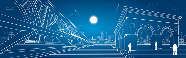 Transport and infrastructure panorama, train rides on the bridge, night city, vector design