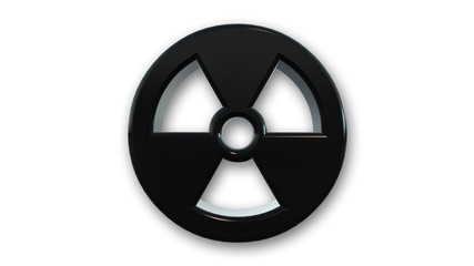 Black metallic radioactive symbol isolated on white background