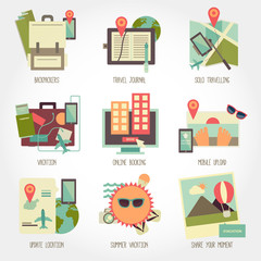 Traveling flat design icon set