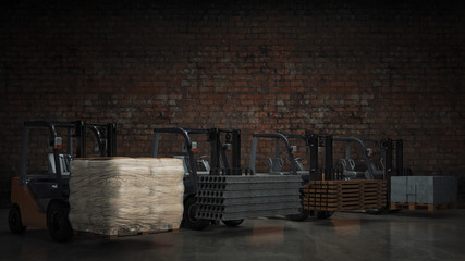 Forklift with building materials