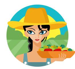 mujer en el campo con comida sana orgánica