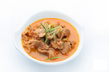 Red curry with pork and coconut milk (Panaeng), Spicy Thai food.