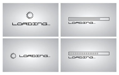 Loading progress bar icon set simple style, vector eps10 illustration