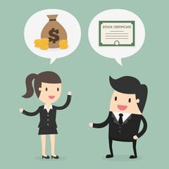 Stock trading. Business concept cartoon illustration