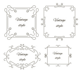 Set of vintage ornament greeting card vector template.