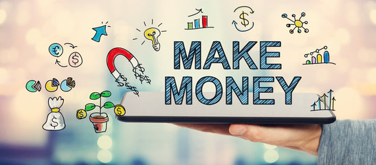 Make Money concept with man holding a tablet