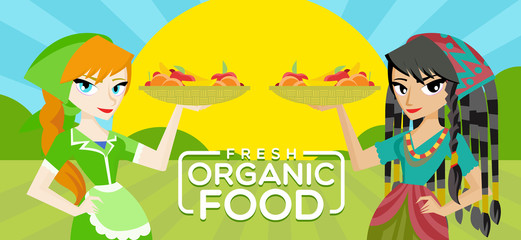 fresh organic food illustration