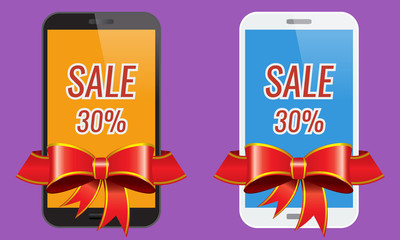 Two modern touch-screen mobile phones with ribbon sale banner.