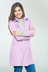Fashion style portrait of smiling woman