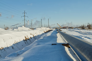 construction of a gas pipeline in the winter