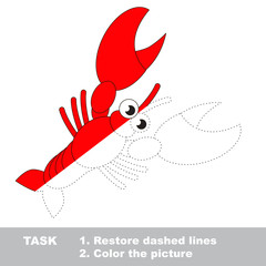 Lobster to be colored. Vector trace game.
